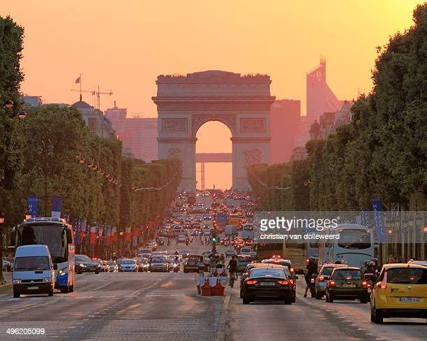 A view on the Arc de Triomphe in Paris. The photo was taken at sunset.