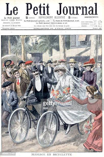 a wedding on bicycle in Nice frontpage of newspaper Petit Journal april 25 1909