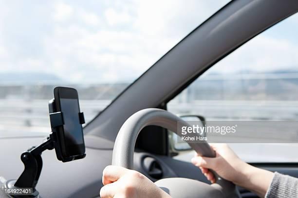 a woman driving a car