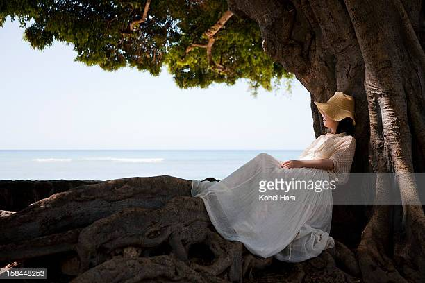 a woman relaxed at seaside