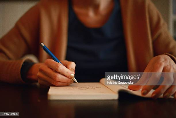 a woman writing in a notebook - dagboek stockfoto's en -beelden