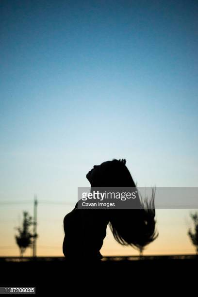a woman's silhouette in the park where the sun sets. - 雰囲気 ストックフォトと画像