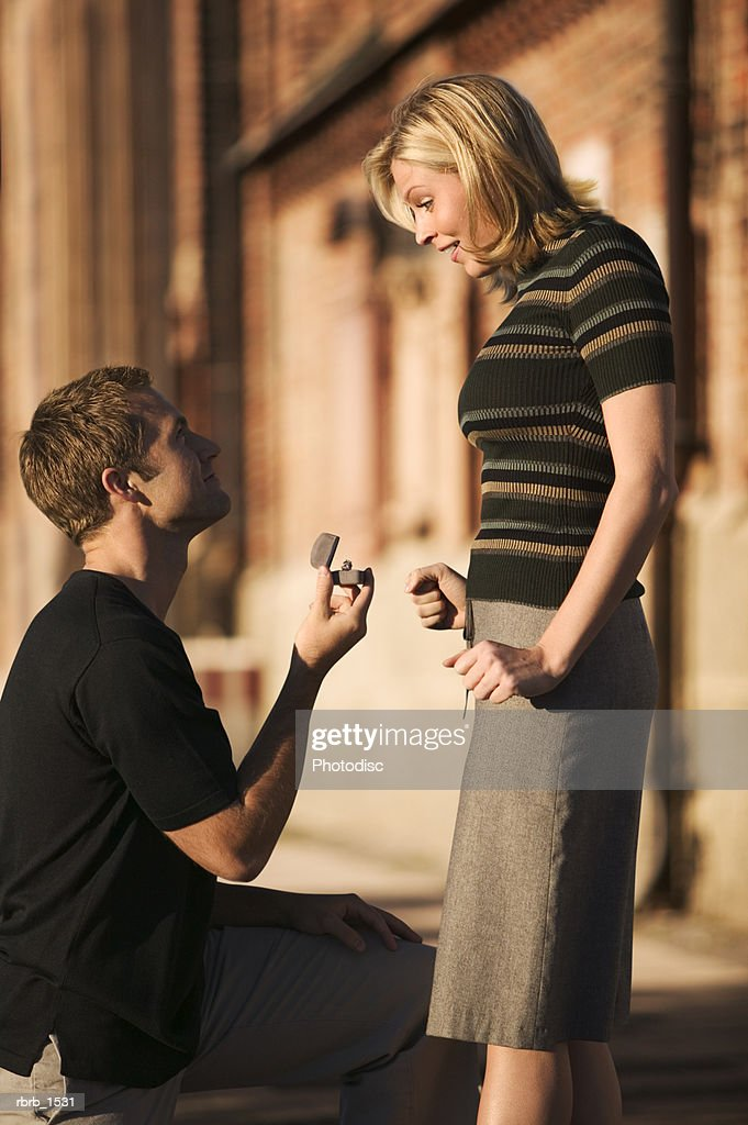 A Young Caucasian Man Propose Marriage To His Girlfriend While On