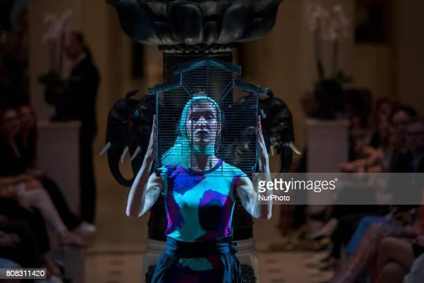 Aa artist performs on the runway before Anja Gockel fashion show during MercedesBenz Berlin Fashion Week Spring/Summer 2018 at Adlon Hotel in Berlin...