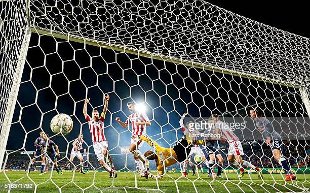 AaB Aalborg scores the 21 goal against Goalkeeper Steffen Rasmussen of AGF Aarhus during the Danish Alka Superliga match between AaB Aalborg and AGF...