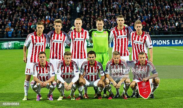 Aab Aalborg team pose before the UEFA Champions League Play off football match between Aalborg BK and Apoel FC at the Nordjyske Arena on August 20...