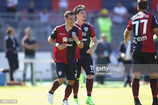 aAbio Pisacane of Cagliari celebrated the goal 21 during the Serie A match between Cagliari Calcio and AC Milan at Stadio Sant'Elia on May 28 2017 in...