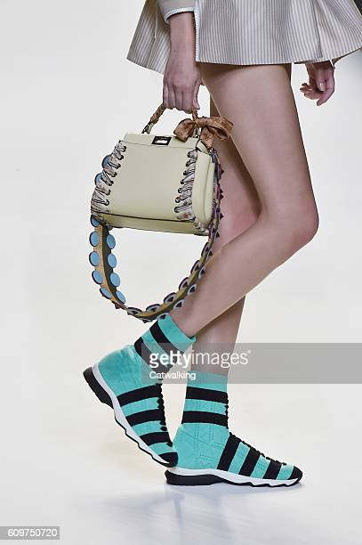 Aaccessories shoe and bag detail on the runway at the Fendi Spring Summer 2017 fashion show during Milan Fashion Week on September 22 2016 in Milan...