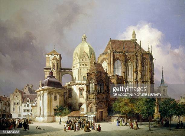 Aachen cathedral by Michael Neher oil on canvas 77x106 cm Germany 19th century