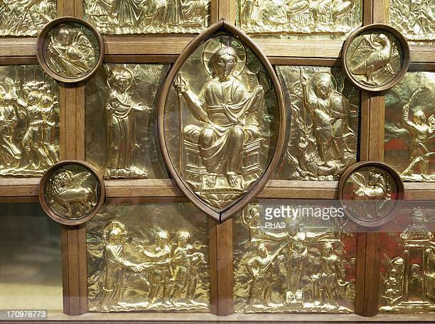 Aachen Cathedral Palatine Chapel Frontal of Main Altar know as Pala d'Oro 1000 Golden panels depicting Christ enthroned inside a mandorla flanqued by...
