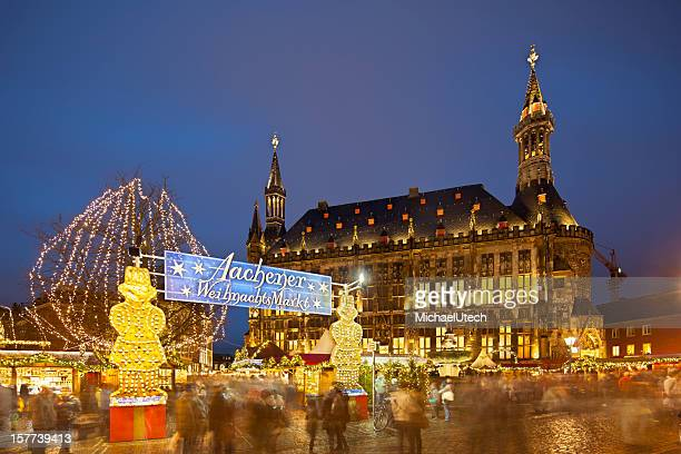 Aachen Christmas Market And Town Hall At Night
