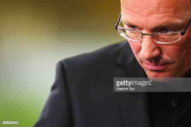 Aachen coach Juergen Seeberger looks dejected after the second Bundesliga match between Alemannia Aachen and FC St Pauli at Tivoli Stadium on August...