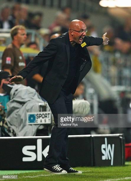 Aachen coach Juergen Seeberger reacts during the second Bundesliga match between Alemannia Aachen and FC St Pauli at Tivoli Stadium on August 17 2009...