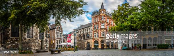 aachen historic city centre - panorama - aachen stock pictures, royalty-free photos & images