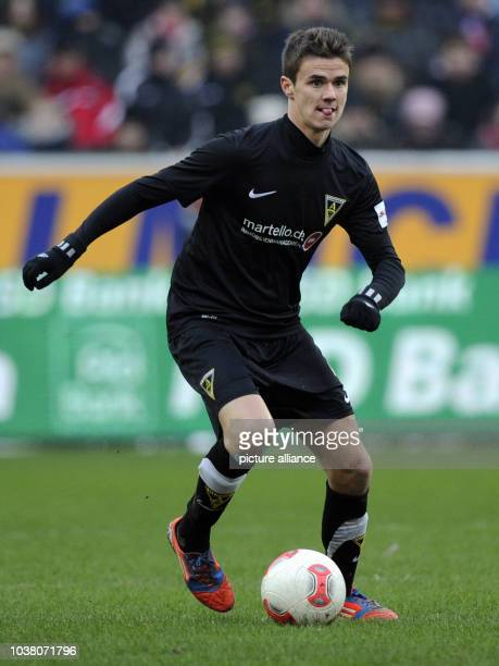 Aachen's Mario Erb controls the ball during the tryout match Alemannia Aachen FC Bayern Muenchen in the Tivoli stadium in Aachen Germany 20 January...