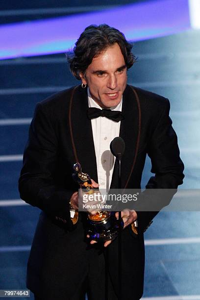 TELECAST*** AActor Daniel DayLewis accepts the award for Best Actor in a Leading Role for the film 'There Will Be Blood' during the 80th Annual...