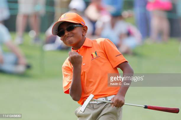 Aadi Parmar, boys 10-11, competes in the Drive, Chip and Putt Championship at Augusta National Golf Club on April 07, 2019 in Augusta, Georgia.
