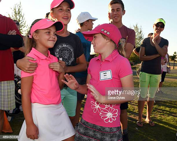 R Aadyn Long smiles as she chats with Jayla Kucy after winning the Overall competition in the Girls 79 yr old division of the the Drive Chip and Putt...