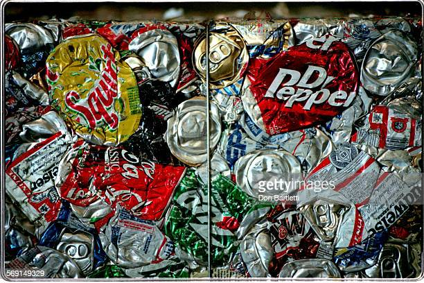 AAGarbageCansDB9/10/97HuntingtonBeach Compressed into a bail aluminum cans sorted from trash at the Rainbow Disposal Co are ready for shipment Under...