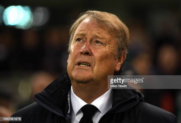 Aage Hareide Manager of Denmark looks on ahead of the UEFA Nations League B group four match between Ireland and Denmark at Aviva Stadium on October...