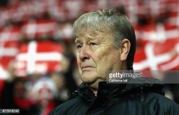 Aage Hareide Manager of Denmark looks on during the FIFA 2018 World Cup Qualifier PlayOff First Leg between Denmark and Republic of Ireland at Telia...