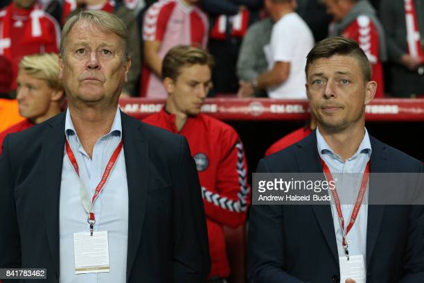 Aage Hareide the manager of Denmark and his assistant Jon Dahl Tomasson before the FIFA 2018 World Cup Qualifier between Denmark and Poland at Parken...