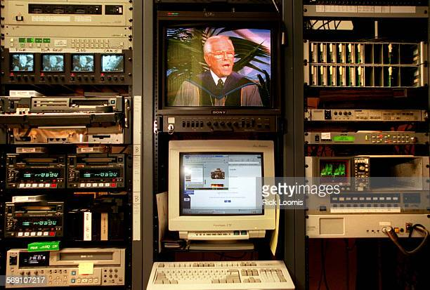 GodOnline.techno.1207.RL––Garden Grove––The image of Hour of Power star Dr. Robert Schuller appears on a TV screen in the midst of audio, video and...