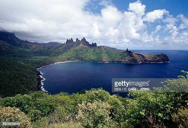Aakapa bay Nuku Hiva aerial view Marquesas islands French Polynesia