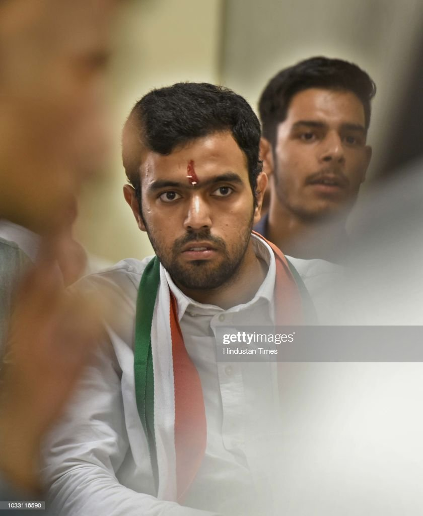 Aakash Chaudhary, NSUI candidate, who won Secretary post in the Delhi University Students Union (DUSU) elections, during a press conference on the outcome and result in Delhi University Students Union (DUSU) elections at AICC office, Akbar Road, on September 14, 2018 in New Delhi, India.