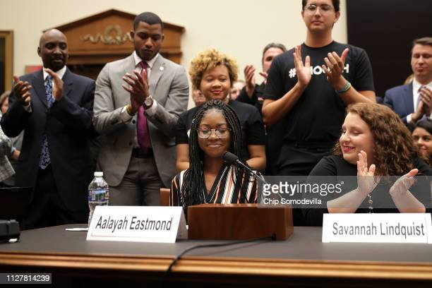 Aalayah Eastmond a survivor of the mass shooting at Marjory Stoneman Douglas High School in Parkland Florida receives a standing ovation while...