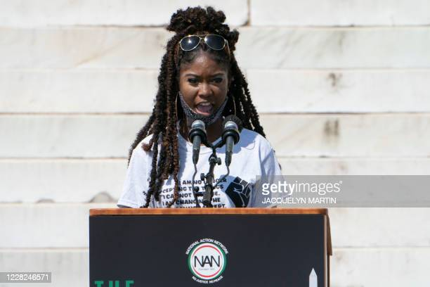 Aalayah Eastmond, executive council member with Team Enough, Brady Campaign to End Gun Violence, and a survivor of the Parkland shooting, speaks...