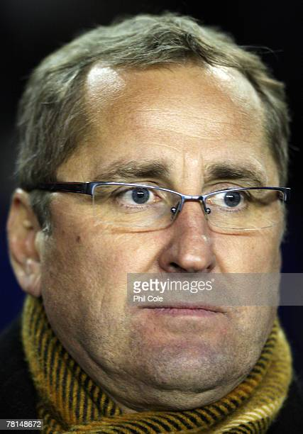 Aalborg Manager Erik Hamren looks on prior to the Uefa Cup match between Tottenham Hotspur and Aalborg BK at White Hart lane on November 29 2007 in...