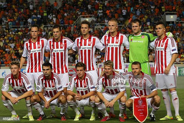 Aalborg pose for a team photo before the UEFA Champions League playoffs second leg match between APOEL and Aalborg at the GSP Stadium on August 26...