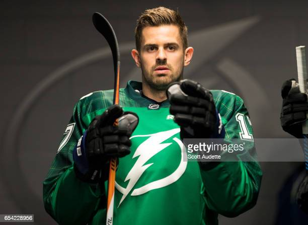 7948f1cbb AAlex Killorn of the Tampa Bay Lightning wears a green St Patrick's Day  warmup jersey as