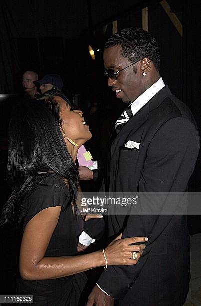 Aaliyah and Sean 'P Diddy' Combs during 2001 MTV Movie Awards Backstage in Los Angeles California United States