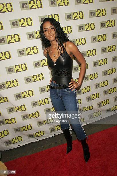 Aaliyah arriving at the MTV 20th Anniversary party MTV20 Live and Almost Legal at Hammerstein Ballroom in New York City on 8/1/01 Photo by Evan...