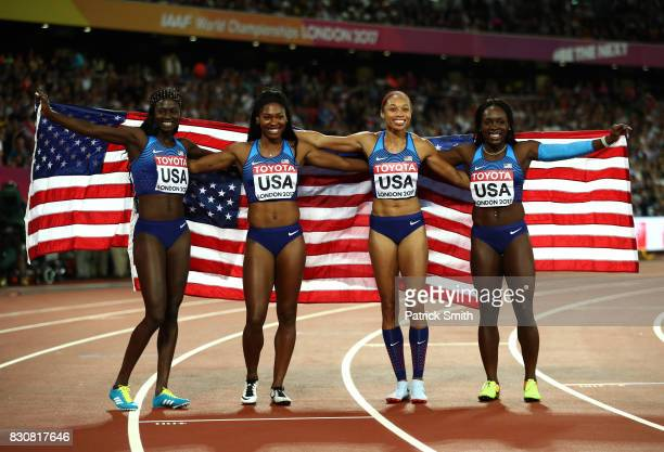 Aaliyah Brown Allyson Felix Morolake Akinosun and Tori Bowie of the United States celebrate winning gold in the Women's 4x100 Metres Final during day...