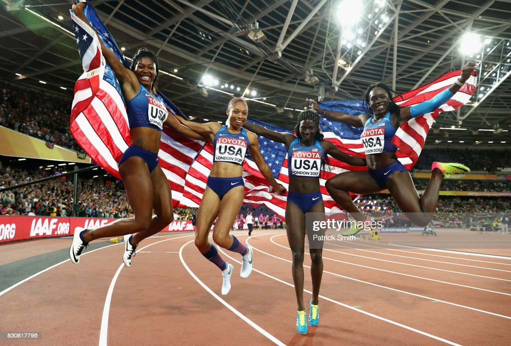 Aaliyah Brown, Allyson Felix, Morolake Akinosun and Tori Bowie of the United States celebrate winning gold in the Women's 4x100 Metres Final during day nine of the 16th IAAF World Athletics Championships London 2017 at The London Stadium on August 12, 2017 in London, United Kingdom.