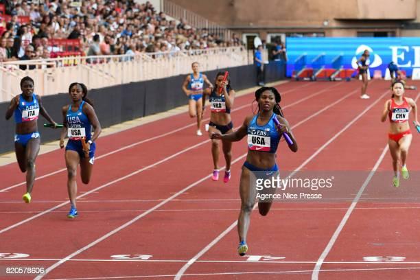 Aaliyah Brown of USA women's 4x100 m relay during the IAAF Diamond League Meeting Herculis on July 21 2017 in Monaco Monaco