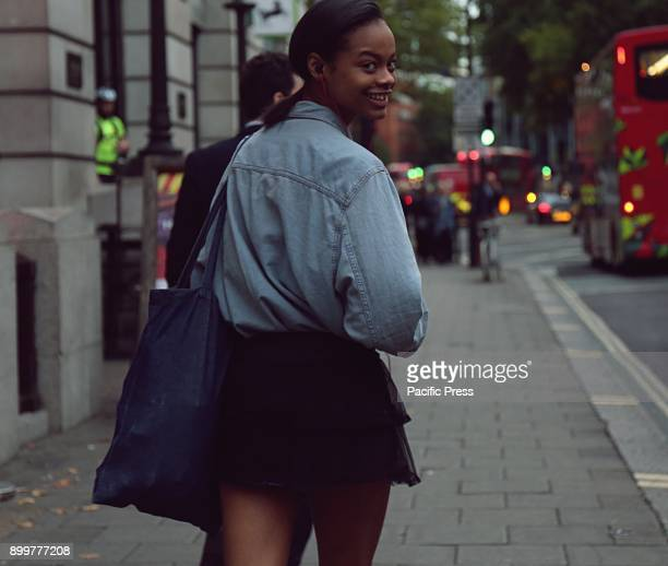 Aaliyah Hydes on the street during the London Fashion Week