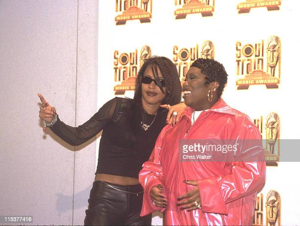 Aaliyah Missy Elliott during The 12th Annual Soul Train Music Awards at Shrine Auditorium in Los Angeles California United States