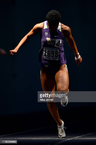 Aaliyah Wilson of the Washington Huskies competes in the women's 60 meter dash at Dempsey Indoor Center on February 15 2019 in Seattle Washington