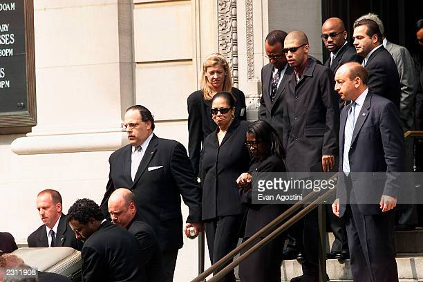 Aaliyah's mother brother and family follow the casket being carried out of St Ignatius Loyola Roman Catholic Church in New York City 8/31/2001 Photo...