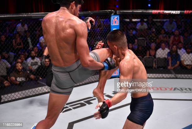 Aalon Cruz knocks out Steven Nguyen in their featherweight fight during Dana White's Contender Series Week Six at the UFC Apex on July 30 2019 in Las...