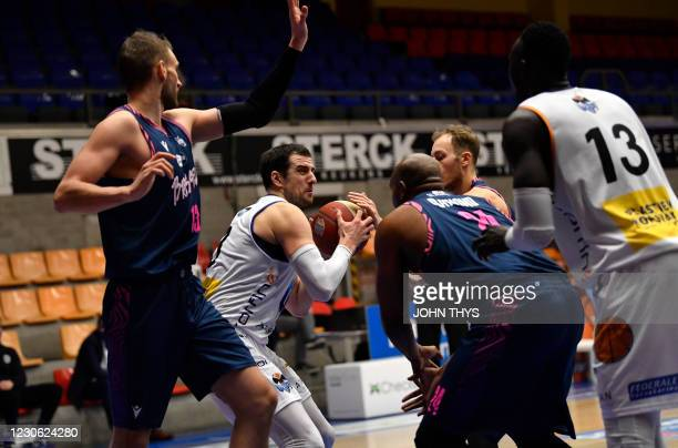 Aalstar's Ivan Maras controls the ball during the basketball match between Okapi Aalst and Phoenix Brussels, Saturday 16 January 2021 in Aalst, on...