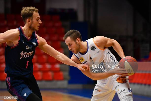 Aalstar's Vladimir Mihailovic controls the ball during the basketball match between Okapi Aalst and Phoenix Brussels, Saturday 16 January 2021 in...