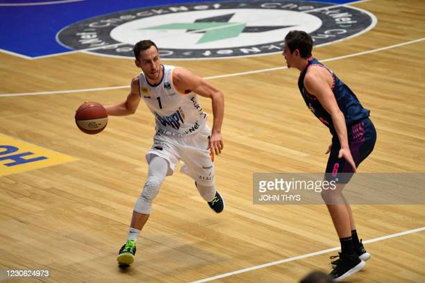Aalstar's Vladimir Mihailovic fights for the ball during the basketball match between Okapi Aalst and Phoenix Brussels, Saturday 16 January 2021 in...