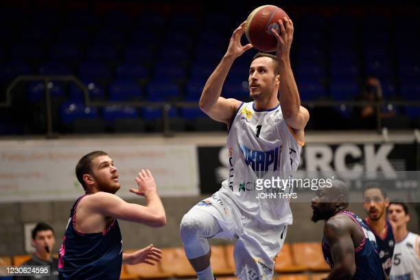 Aalstar's Vladimir Mihailovic shoots on the ball during the basketball match between Okapi Aalst and Phoenix Brussels, Saturday 16 January 2021 in...