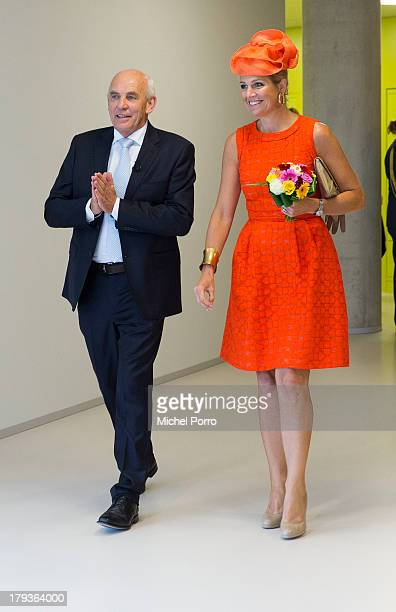 Aalt Dijkhuizen and Queen Maxima of The Netherlands tour the campus after opening the academic year at Wageningen University on September 2, 2013 in...