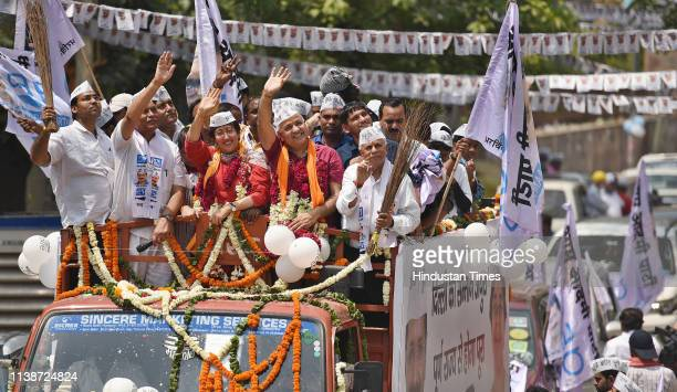 Aam Aadmi Party candidate from East Delhi Atishi Marlena Delhi Deputy chief minister Manish Sisodia AAP leader Ram Niwas Goel and other AAP members...